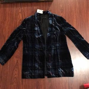 Zara Checked Plaid Velvet Blazer